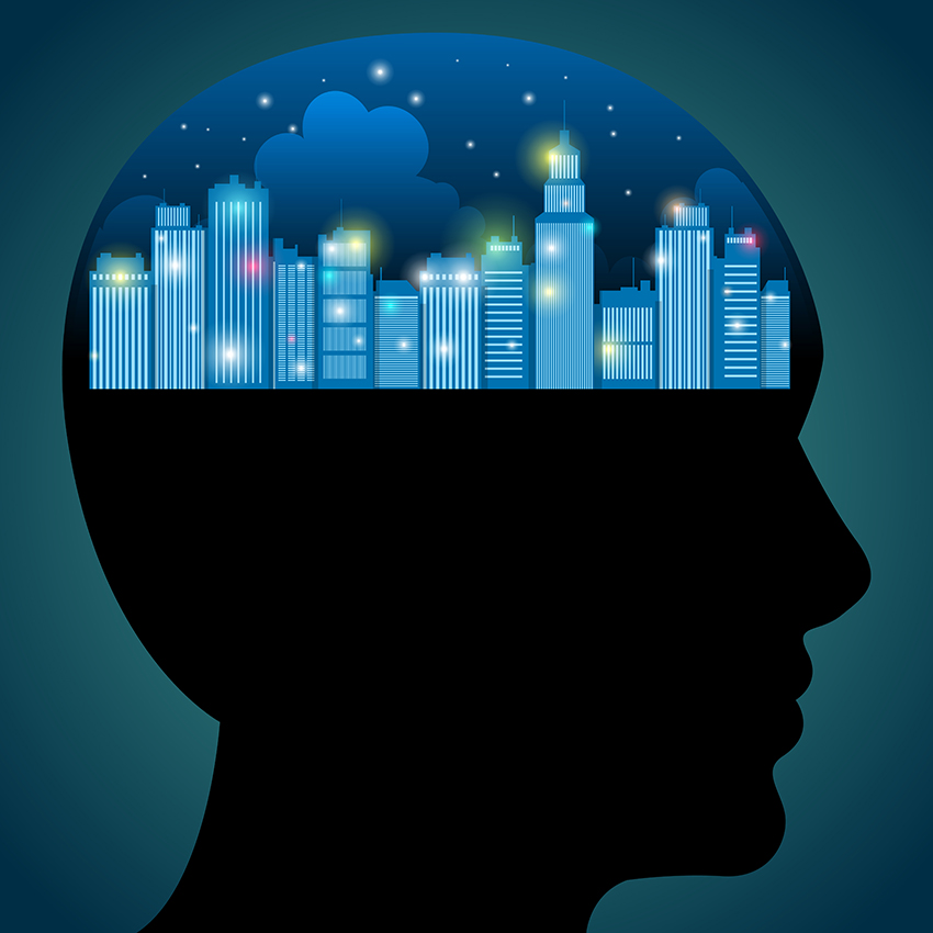 Vector illustration of a city of light inside a human head.